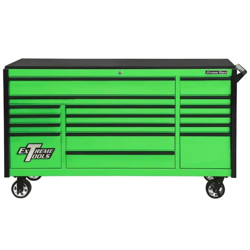 Extreme Tools DX 72-in W x 42.75-in H 17-Drawer Steel Rolling Tool Cabinet (Green)