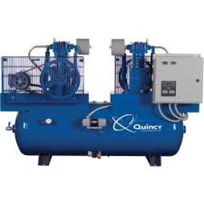 Quincy Duplex Air Compressor - 5 HP, 460 Volt, 3 Phase, 80 Gallon Horizontal