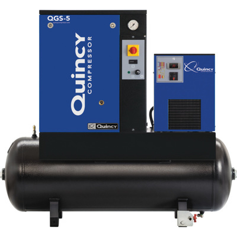 Quincy QGS Rotary Screw Compressor with Dryer - 5 HP, 230 Volt Single Phase, 60 Gallon, 16.6 CFM