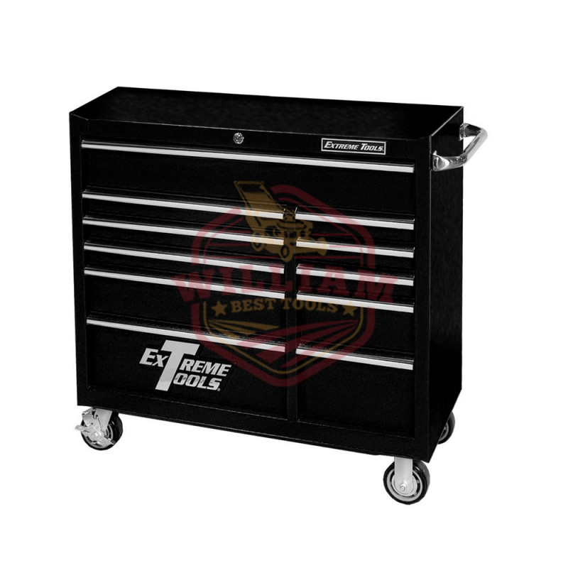 Extreme Tools PWS Series 41 In. 11-Drawer 24 In. Deep Roller Cabinet with Self-Latching Drawers, Textured Black