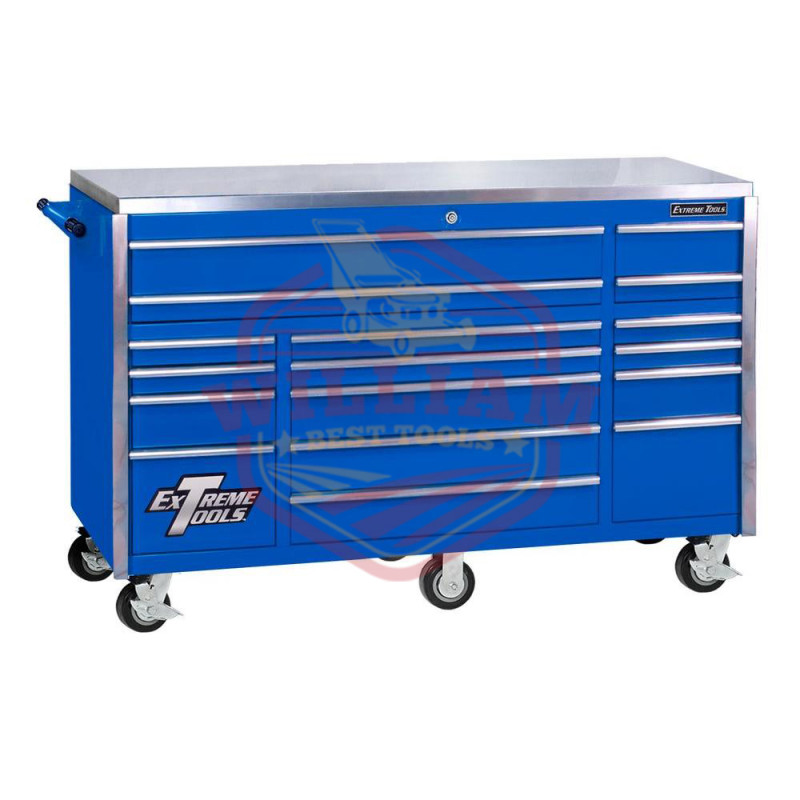 Extreme Tools 55 In. 11 Drawer Pro Roller Cabinet- Blue