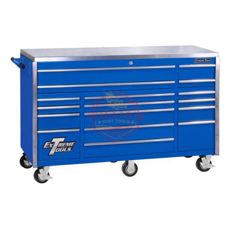 Extreme Tools 72 In. 17 Drawer Triple Bank Professional Roller Cabinet- Blue