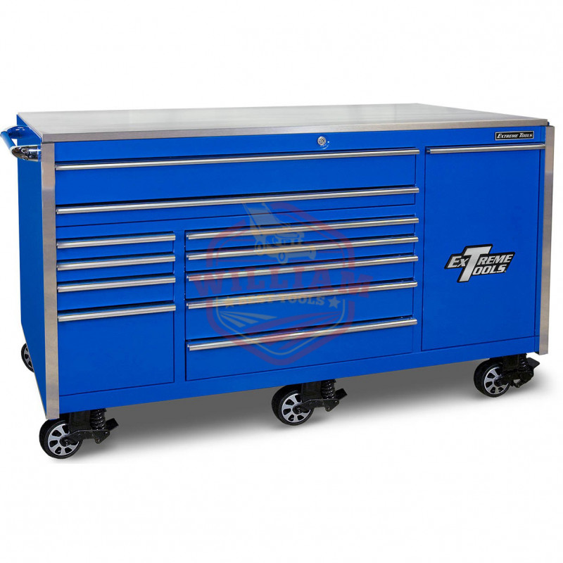 Extreme Tools Ex Professional Series 76 In. 12-Drawer Roller Cabinet Includes Vertical Drawer with Power Strip, Blue