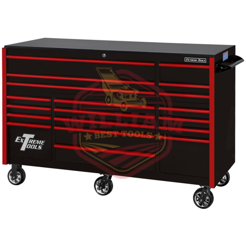 Extreme Tools RX Series 72-in x 30-in 19 Drawer Roller Cabinet, Black with Red Drawer Pulls