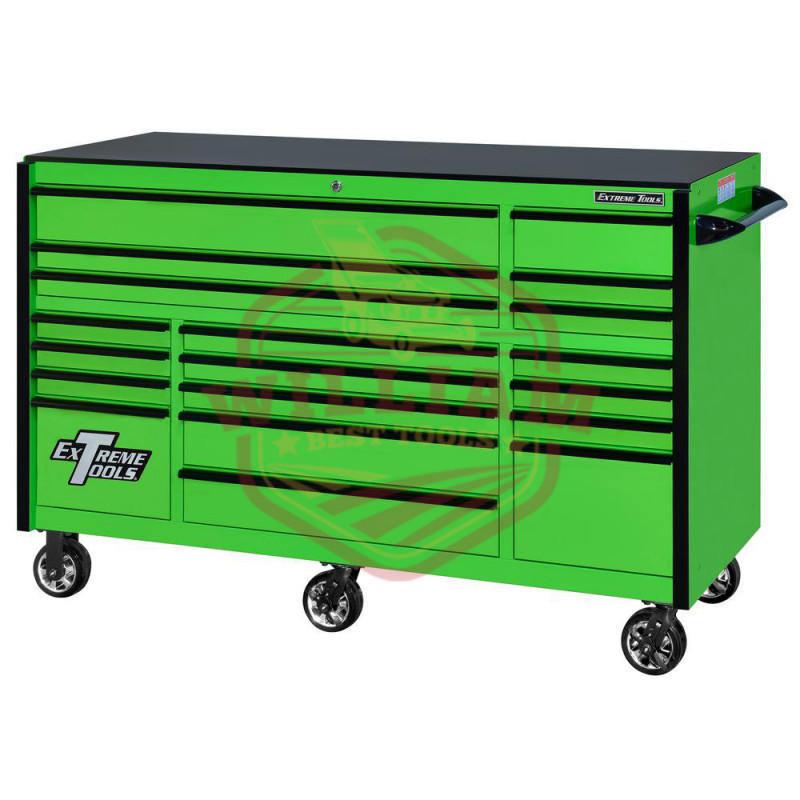 Extreme Tools RX Series 72-in x 30-in 19 Drawer Roller Cabinet, Green with Black Drawer Pulls