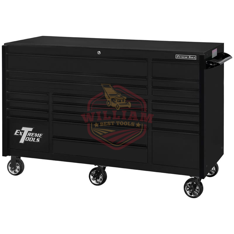 Extreme Tools RX Series 72-in x 30-in 19 Drawer Roller Cabinet, Matte Black with Black Drawer Pulls
