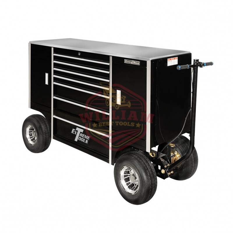 Extreme Tools TX Series 70 In. 7-Drawer and 2-Compartment Pit Box, Black