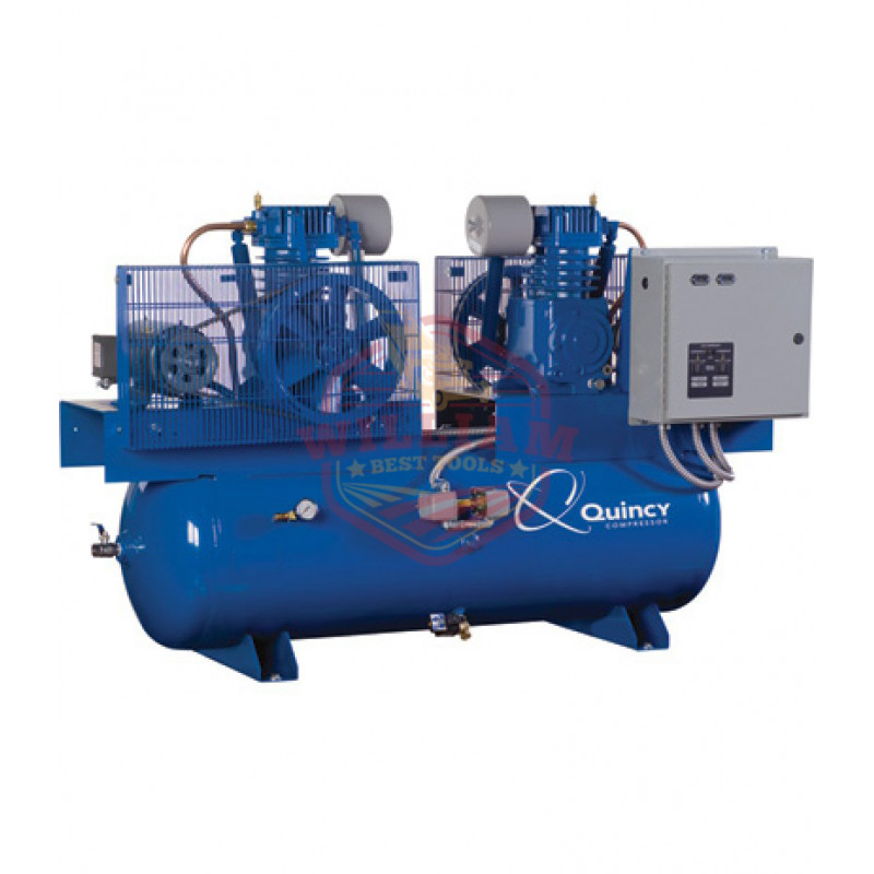 Quincy Duplex Air Compressor - 7.5 HP, 230 Volt 3 Phase, 120 Gallon Horizonta