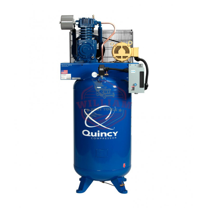 Quincy QT-5 Splash Lubricated Reciprocating Air Compressor - 5 HP, 208 Volt, 3 Phase, 80 Gallon Vertical