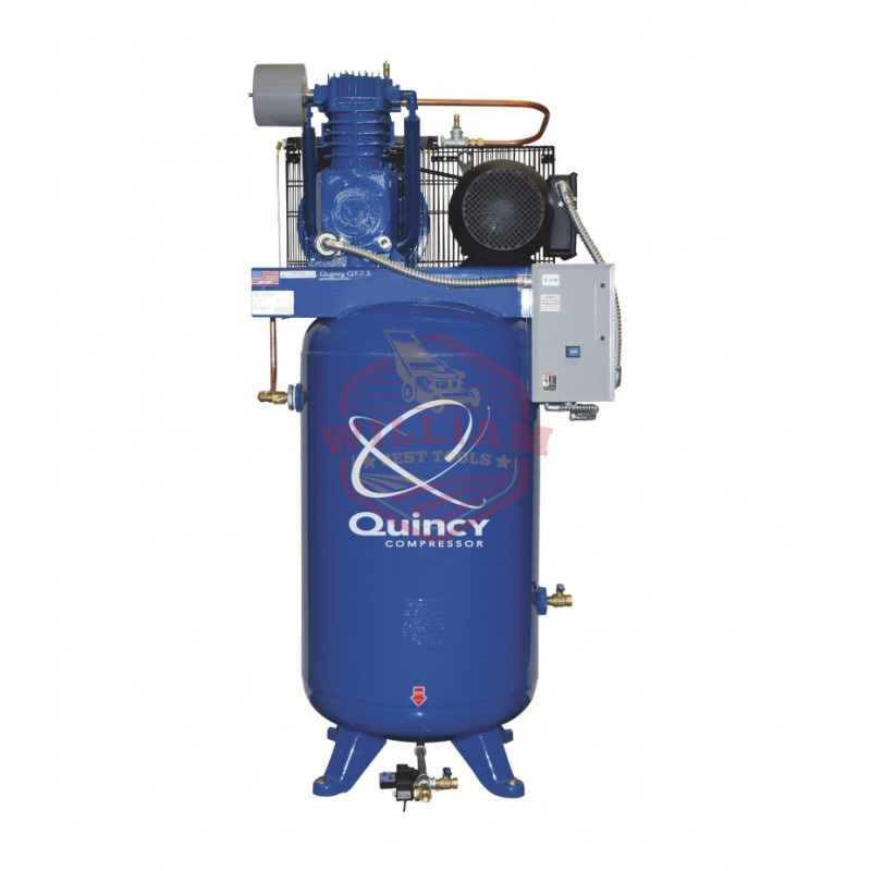 Quincy QT-10 Splash Lubricated Reciprocating Air Compressor - 10 HP, 208/230/460 Volt, 3 Phase, 120-Gallon Horizontal