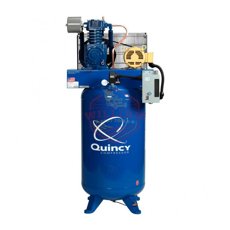 Quincy Reciprocating Air Compressor - 5 HP, 460 Volt, 3 Phase, 80-Gallon Vertical