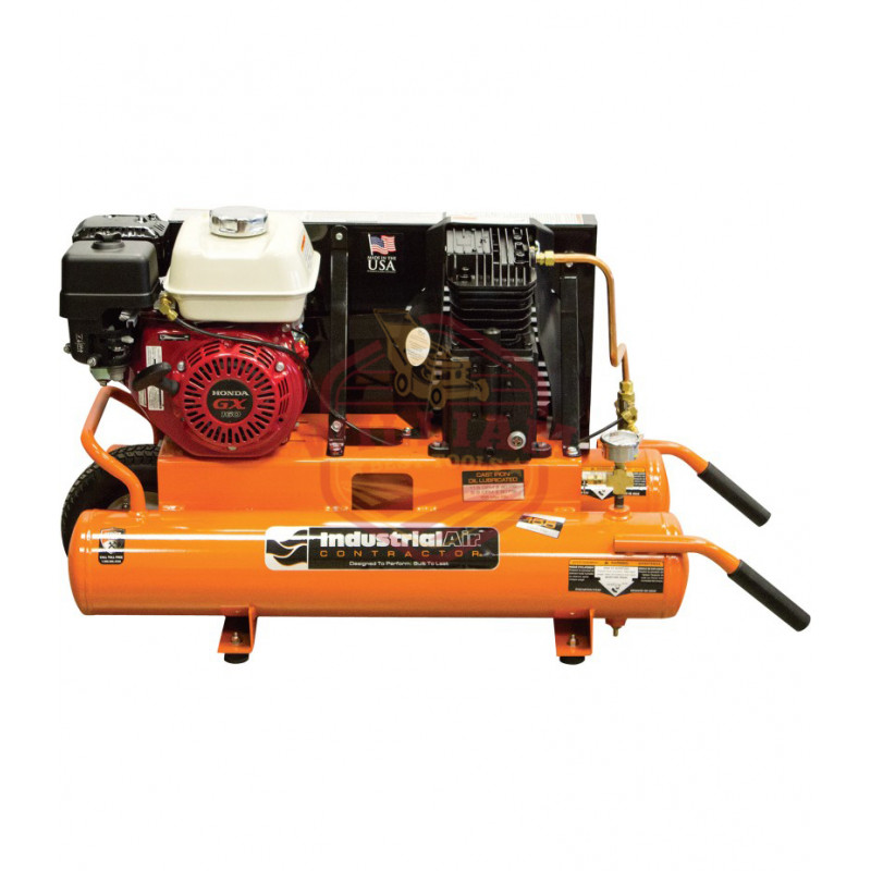 Industrial Air Gas-Powered Wheelbarrow Air Compressor - 5.5 HP Honda Engine, 8-Gallon