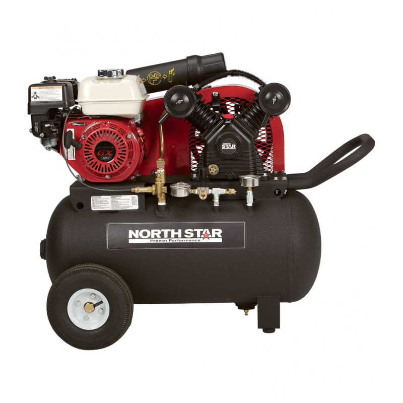 NorthStar Portable Gas-Powered Air Compressor - Honda 163cc OHV Engine, 20-Gallon Horizontal Tank, 13.7 CFM 90 PSI