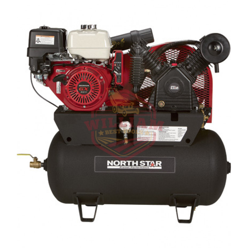 NorthStar Portable Gas Powered Air Compressor - Honda GX390 OHV Engine, 30-Gallon Horizontal Tank, 24.4 CFM 90 PSI