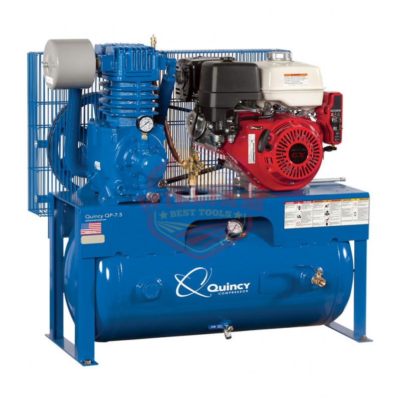 Quincy QP-7.5 Pressure Lubricated Reciprocating Air Compressor - 13 HP, Honda Gas Engine, 30-Gallon Horizontal