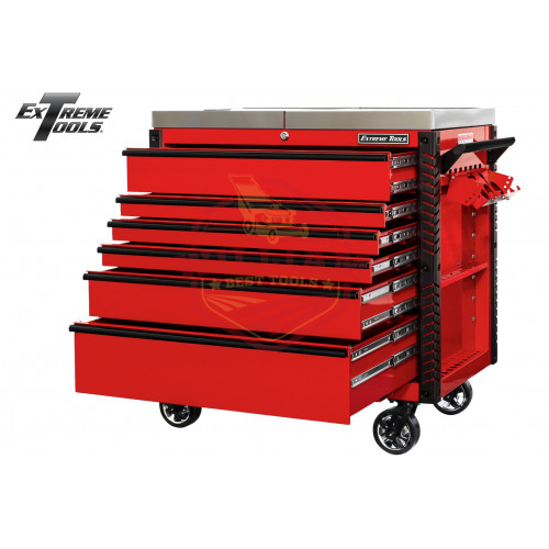 Extreme Tools 41-in 6 Drawer Stainless Steel Sliding Top Deluxe Tool Cart with Bumpers, Red with Black Drawer Pulls