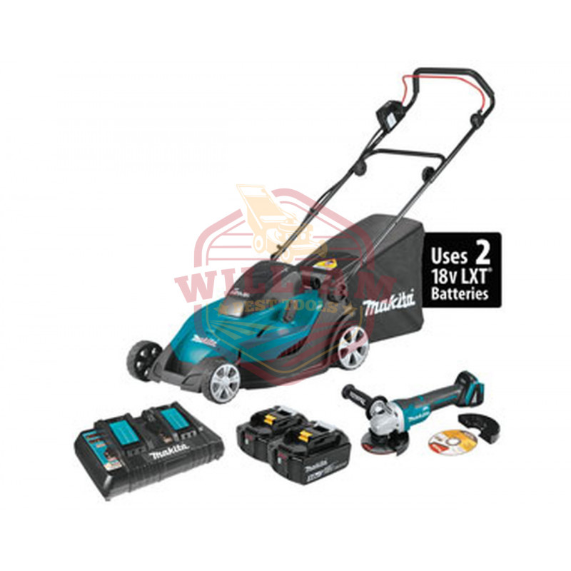 Makita 18V X2 LXT Lithium-Ion (36V) 17'' Cordless Lawn Mower Kit w/ Brushless Angle Grinder